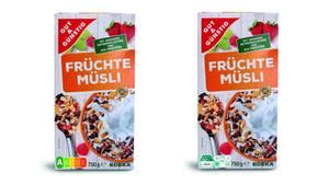 Umfrage zu Nährwertkennzeichnung: Ein Früchtemüsli ist mit dem Nutri-Score und dem Logo Wegweiser Ernährung gekennzeichnet