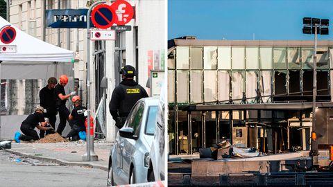 Links: Polizisten untersuchen die Explosion an einer Polizeiwache. Rechts: die beschädigte Fassade der Steuerverwaltung