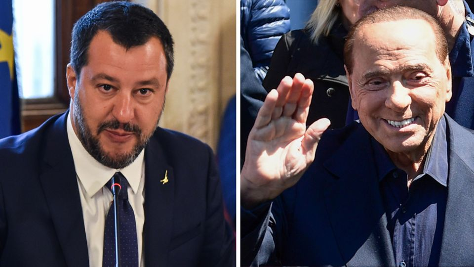 Italiens Innenminister Matteo Salvini und Silvio Berlusconi