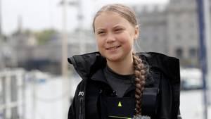 Greta Thunberg vor der Atlantik-Überquerung bei einer Pk in Plymouth