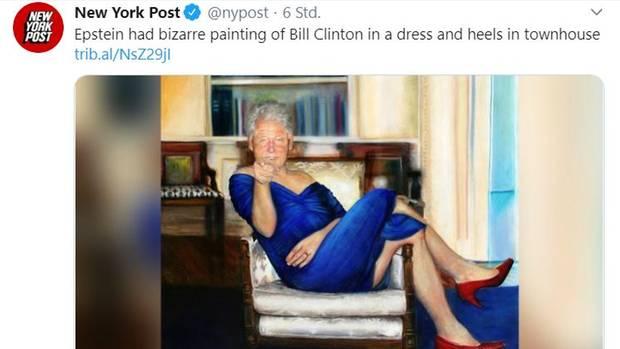Bill Clinton in baluem Kleid und roten High Heels - Oil on canvas