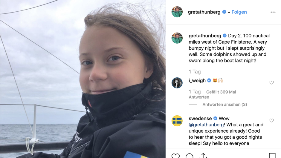 Greta Thunberg at sea Day 2