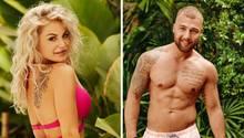 Links schaut eine blonde Frau im pinken Bikini über die rechte Schulter, rechts steht ein muskulöser Mann in Badeshorts