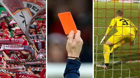 Collage: Fußballfans im Stadion, Hand zeigt rote Karte, Torwart