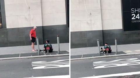 Collage: Ein Jogger und ein Obdachloser auf der Straße; Ein Obdachloser sitzt auf der Straße