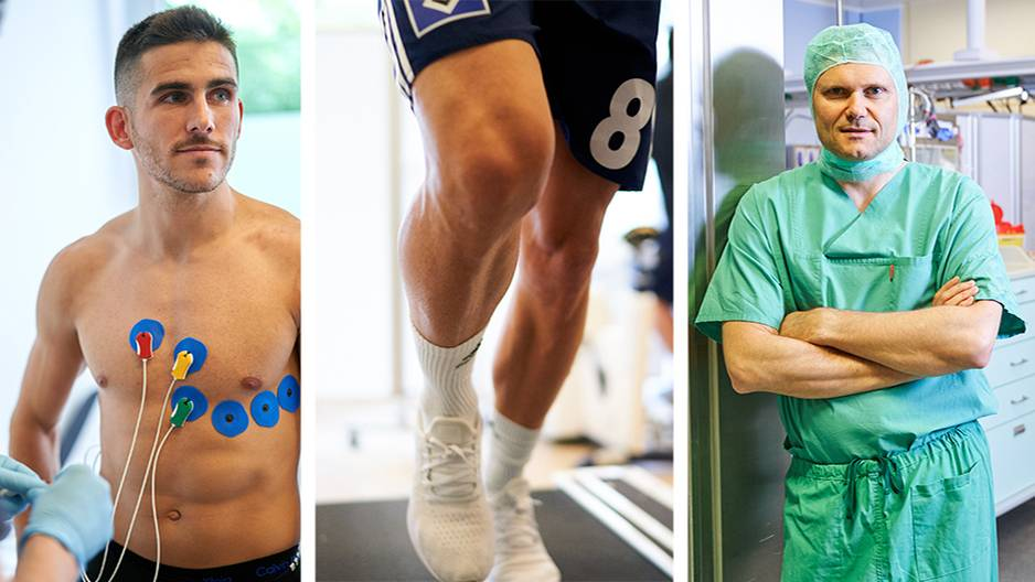 Collage: Jairo Samperio, Beine des Sportlers, ein Arzt in Operationskleidung