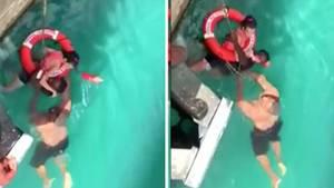 Die Touristin war vom Landungssteg eines Kreuzfahrtschiffes aus ihrem Rollstuhl gefallen.