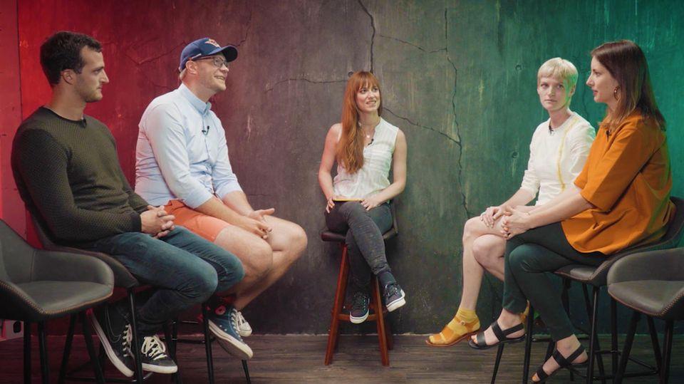 Zu Gast in der stern-DISKUTHEK zu Startups: Pola Fendel, Janina Mütze, Markus Deibler und Oliver Rößling