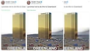 """Ein Screenshot zeigt den Tweet von Trump: """"Ich verspreche das hier nicht Grönland anzutun"""""""