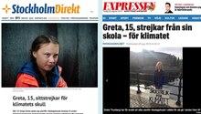 Greta Thunberg in schwedischen Zeitungsberichten