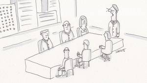 Cartoon: Sieben Personen sitzen an einem Konferenztisch
