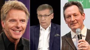 Collage: Die Moderatoren Jörg Pilawa, Günther Jauch und Eckart von Hirschhausen
