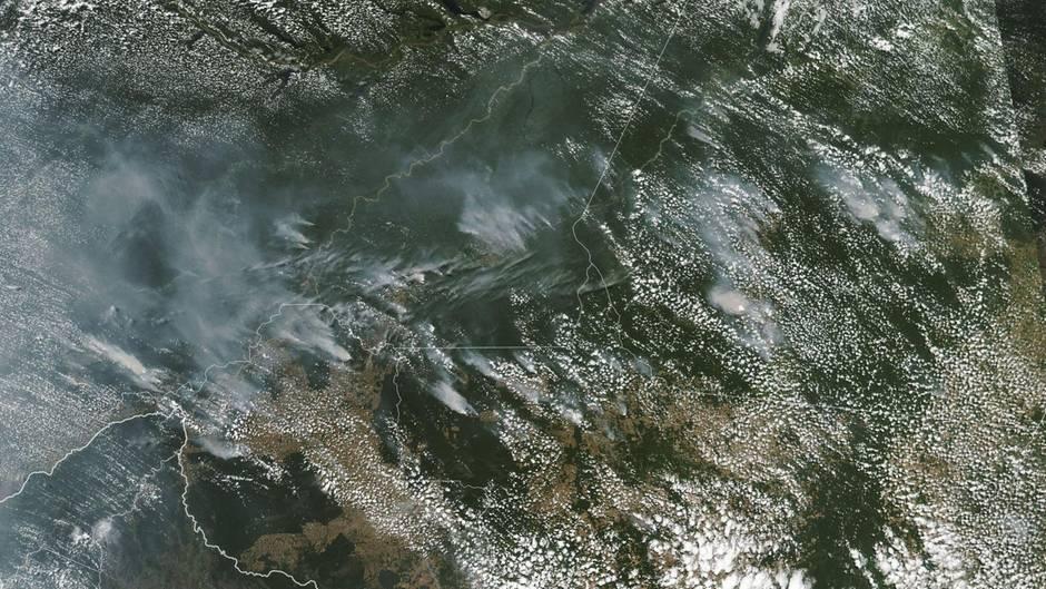 Luftaufnahme des Waldbrandes in Brasilien