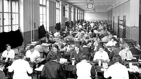 Historische Aufnahme, Großraumbüro in den dreißiger Jahren