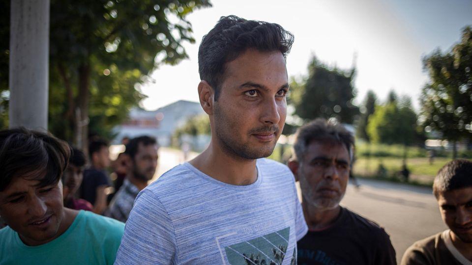 Flüchtling an der bosnisch-kroatischen Grenze
