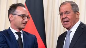 Heiko Maas und sein russischer Amtskollege, Sergej Lawrow in Moskau
