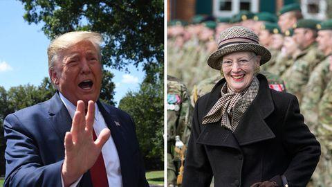 Donald Trump (l.) und Dänemarks Königin Margrethe II.