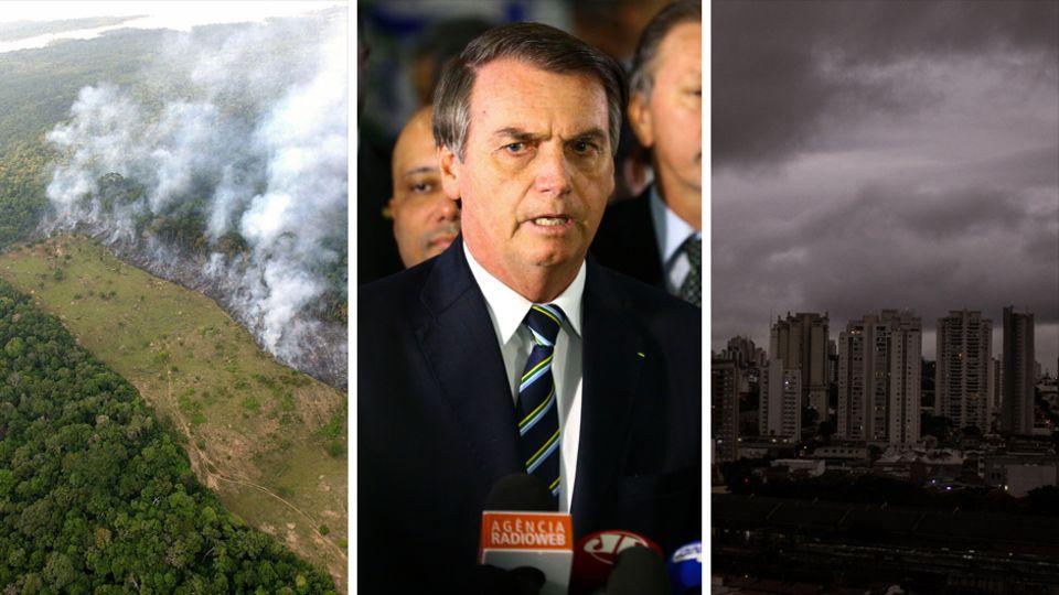 Waldbrand im Amazonasbecken, Brasiliens PräsidentJair Bolsonaro, Himmel überSão Paolo