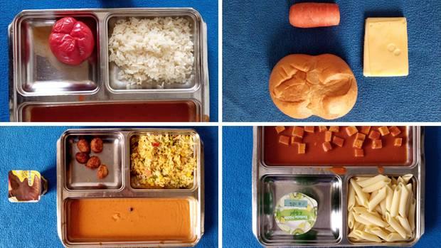"""Eine Collage vom Essen, das in der JVA Heidering serviert wird. Auf dem Twitter-Account """"Gefängniscuisine"""" sieht man Bilder aus demkulinarischen Alltag hinter Gittern."""
