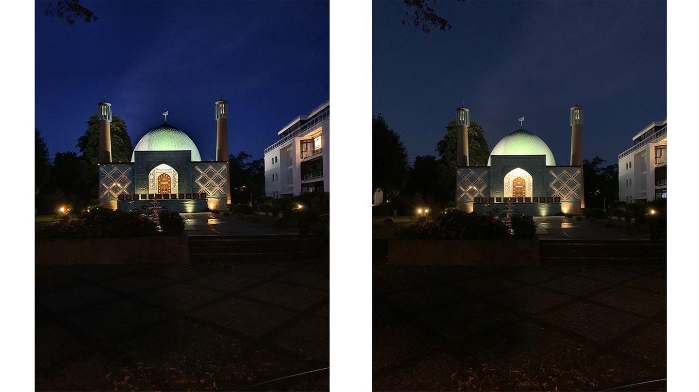 Test: Trotz schlechten Lichtbedingungen schafft es das Note (links) noch beeindruckend viele Details zu erfassen. Im Vergleich zum iPhone (rechts) fängt es Farben mit mehr Nuancen ein. Näher an der echten Lichtstimmung ist dabei aber das iPhone.