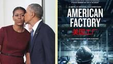 "Filmplakat ""AmericanFactory"" und Obamas"