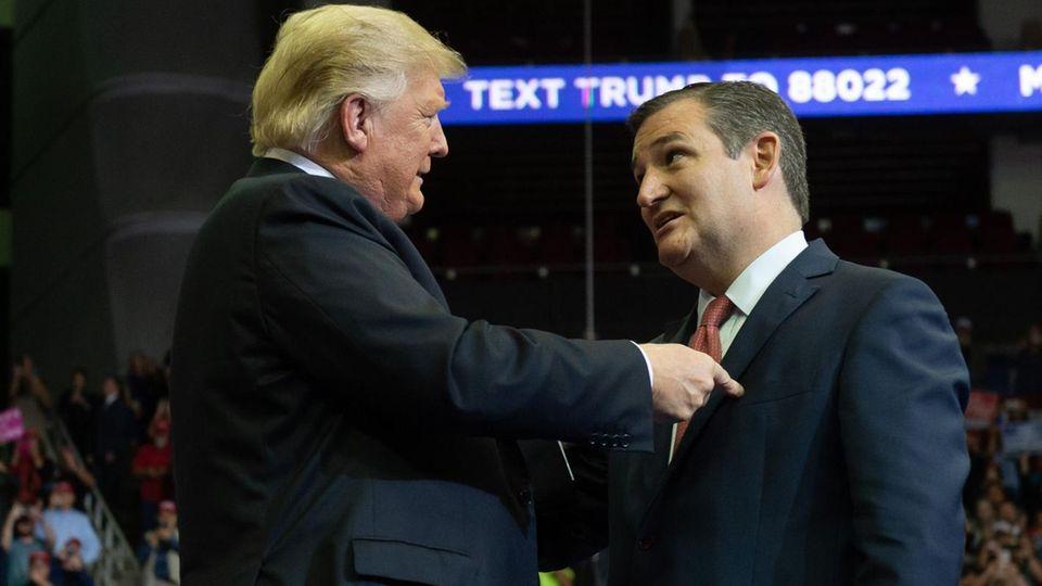 Donald Trump und Senator Ted Cruz (r.) während einer Wahlkampfveranstaltung in Texas