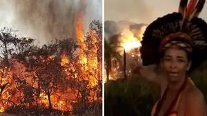 Indigene Brasilianerin macht ihrer Wut über die mutmaßliche Brandstiftung des Regenwalds im Amazonas Luft