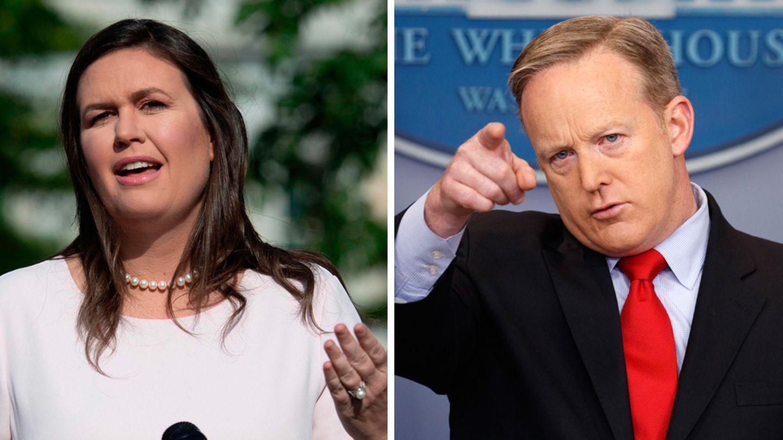 Sarah Huckabee Sanders und Sean Spicer