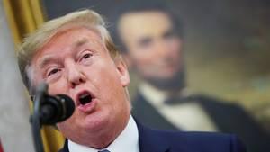 Donald Trump spricht in ein schwarzes Mikrofon. Unscharf im Hintergrund ist ein Ölgemälde von Abraham Lincoln zu sehen