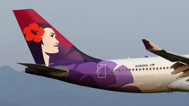 Das Leitwerk eines Jets von Hawaiian Airlines