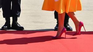 Melania Trump auf dem roten Teppich: Am Samstagmorgen sind Donald Trump und die First Lady gelandet.