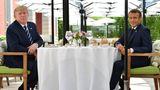 Zum Mittagessen am Samstag trafen sich der französische Präsident Emmanuel Macron und US-Präsident Donald Trump im Hotel du Palais