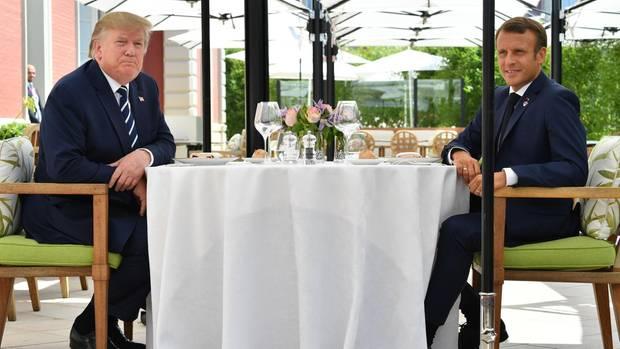 Donald Trump und Emmanuel Macron treffen sich vor dem offiziellen Start des G7-Gipfels