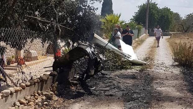 Das Wrack des Flugzeugs auf Mallorca
