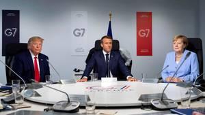 Donald Trump, Emmanuel Macron und Angela Merkel auf dem G7-Gipfel (v.l.)