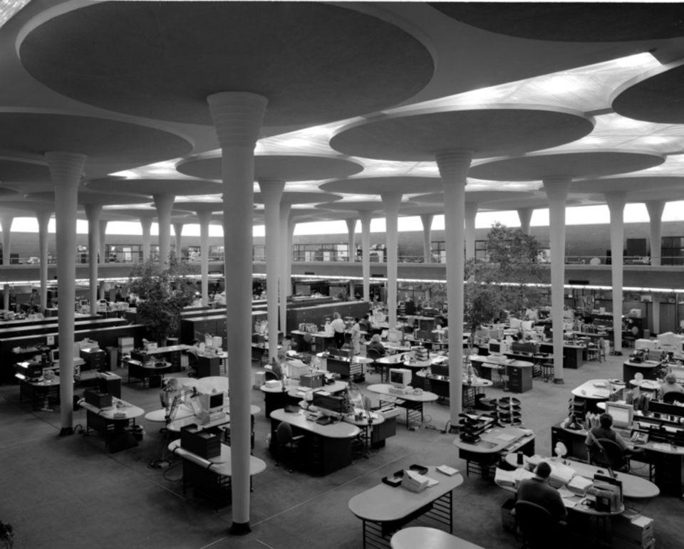 Das Hauptquartier von Johnson Wax in Wisconsion, USA.
