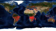 Eine Weltkarte der Nasa zeigt, wo es überall auf der Welt brennt