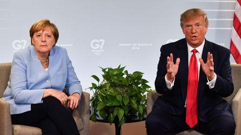 Bundeskanzlerin Angela Merkel und US-Präsident Donald Trump bim G7-Gipfel in Biarritz