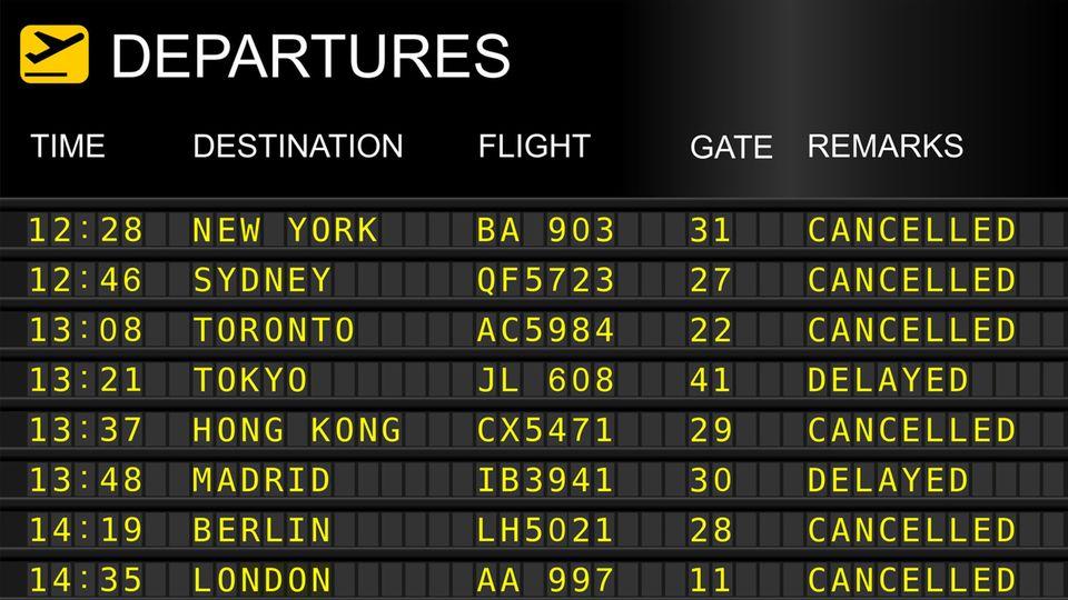 Anzeigetafel am Flughafen: Alle Flüge sind verspätet oder gestrichen worden