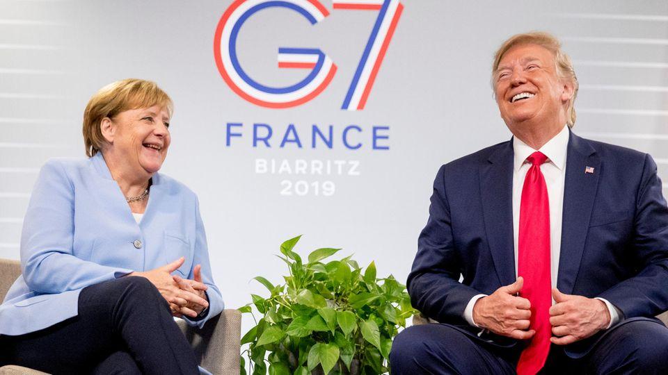 Angela Merkel und Donald Trump beim G7-Gipfelin Biarritz