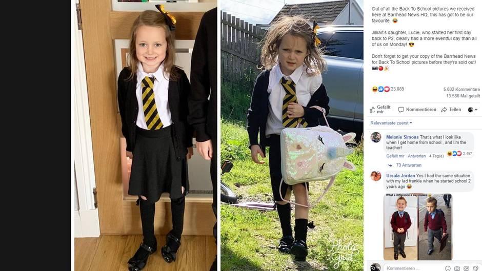 Lucie auf dem Weg zu ihrem ersten Schultag (links), Lucie nach ihrem ersten Schultag
