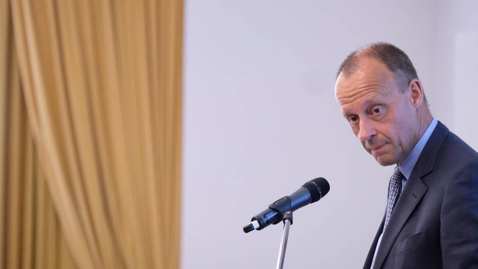 Friedrich Merz steht im Anzug vor einem Mikrofon. Er ist seitlich aufgenommen, seinen Kopf hat er leicht nach links gedreht