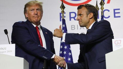 Daumenhoch: Emmanuel Macron (r.) und Donald Trump in Biarritz