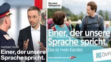 Wahlkampfplakate der FPÖ und ÖVP in Österreich