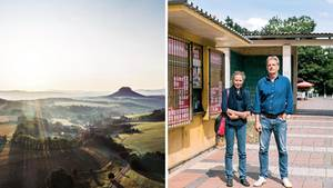"""Blick in die Sächsische Schweiz; die Reporter Karin Großmann von der """"Sächsischen Zeitung"""" und Axel Vornbäumen vom stern"""