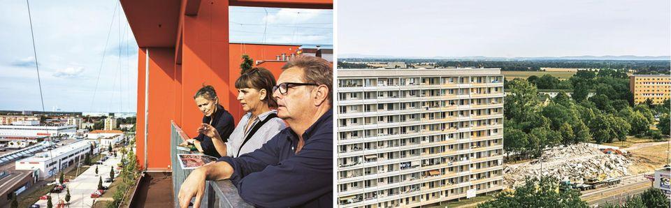 Karin Großmann, Axel Vornbäumen und Dorit Baumeister auf dem lLusitztower; Abriss der Plattenbauten