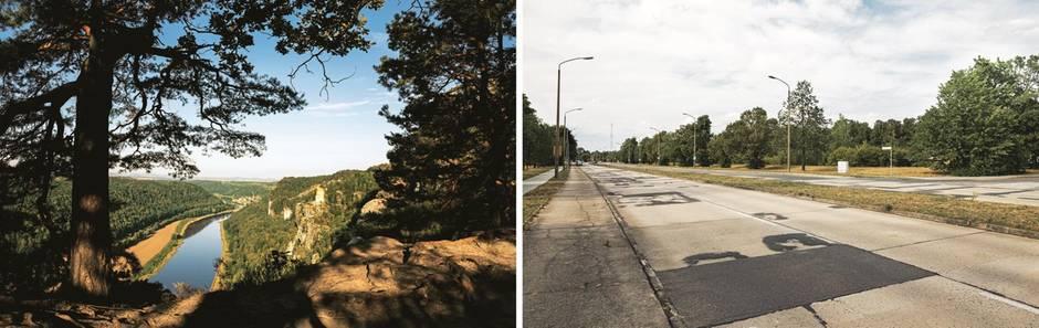 Sachsen: Elbe bei Rathen; Straße in Hoyerswerda