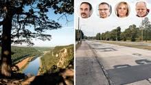 """Elbe bei Rathen; Straße in Hoyerswerda, vier Reporter der """"Sächsischen Zeitung"""""""