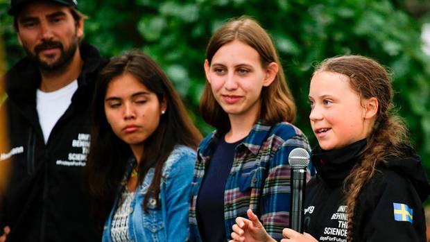Greta Thunberg, Boris Herrman und zwei US-Jugendliche in New York