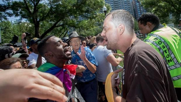 Der Ton wird unversöhnlicher: Streitende bei einer rechten Kundgebung in Boston
